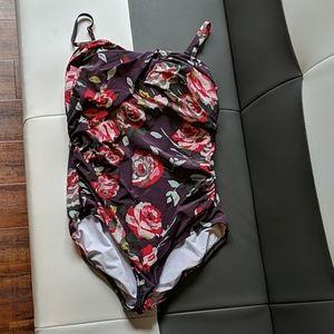 Purple Lands End Bathing Suit 14 L XL adjustable